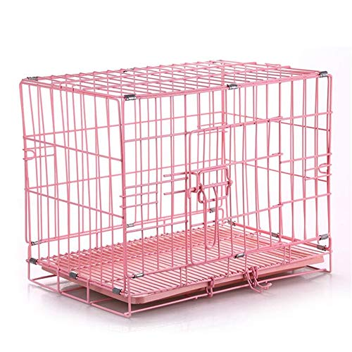 Pet Dog Crates Single - Door & Double Door Klappbare Metall Kennels mit Boden auslaufsicherer Tray - Portable Easy Assembly Family Essential,Pink -
