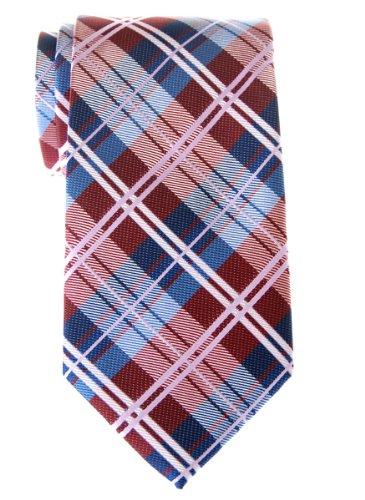 Cravate Retreez élégante tissée en tartan pour homme Rouge bordeaux et Bleu