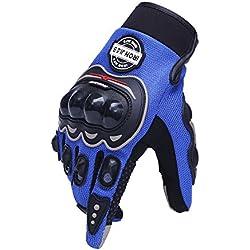 IRON JIA'S Guantes de motos motocicleta para carreras todo terreno, guantes de moto para pantallas táctiles resistentes a caídas (XXL, Blue)