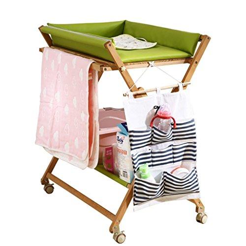 Ali@ Table à langer avancée bébé hêtre, multifonction amovible, quatre vitesses sont réglables en hauteur PU Pad, Nursing Desk, sac cadeau, 80 kg de charge (Couleur : Green)