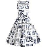 Mode Damen Katze-Hund-Zeitung-Kleid weiß Boot- Ausschnitt Sommer Freizeit Partykleid A- Line Rock Frauen