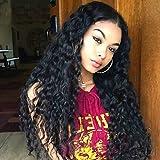ligaosheng Remi-Haar Spitzenfront Perücke Peruanisches Haar Locken mit Strähnen 130% Dichte 100% Jungfrau Afro-Amerikanische Perücke Natürlicher, 130%