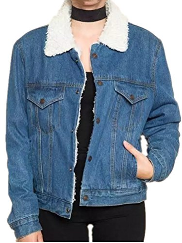 Fleece-schwergewicht Hat (Foluton Damen Warm Winterjacke Herbstjacke Modisch Jeansjacke Revers Fleece Gefüttert Steppjacke Felljacke Denim Coat Kurzjacke Mantel Übergangsjacke)
