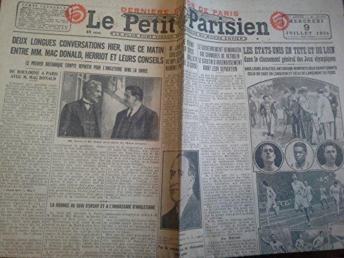 Le Petit Parisien 9 juillet 1924 - n° 17298 - Les Etats-Unis en tête des jeux olympiques