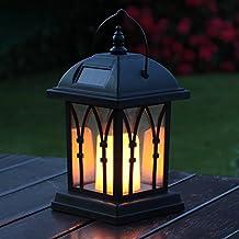 Linterna de jardín vela –Funciona con energía solar–Efectoparpadeo –Ámbar LED–27cm por luces festivas