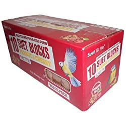 Suet To Go Suet Blocks Value Pack Of 10 - 4 Varieties available - High Energy Food For Wild Birds (Peanut & Cherry)