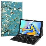 Fintie Bluetooth Tastatur Hülle für Samsung Galaxy Tab A 10.5 SM-T590/T595 Tablet-PC - Ultradünn leicht Schutzhülle mit magnetisch Abnehmbarer drahtloser Deutscher Bluetooth Tastatur, Mandelblüten