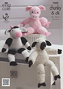 King Cole dk en tricot Ferme Animaux caractères câlins à tricoter double épais Motif cochon Mouton Vache