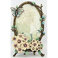 "ChezMax International Designs Butterfly Flower Pattern Metal Photo Frames Friends Gift Picture Frame Table Top Frame 7"" X 4.5"" X 1"""