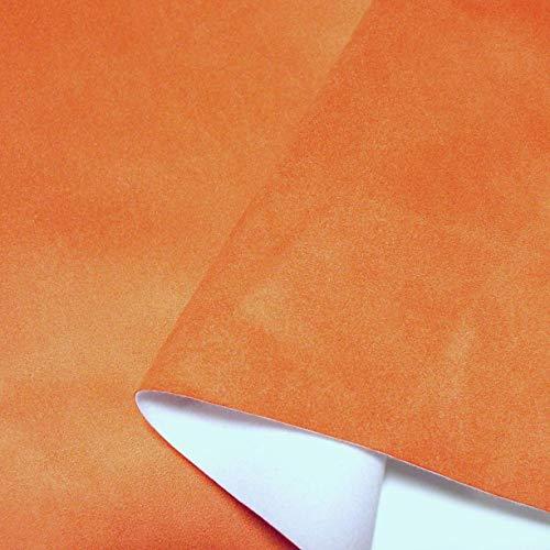 Orange-nappa Leder (TOLKO Alcantara-Imitat als Polsterstoff Meterware | Wasserdicht | Abriebfester Mikrofaser Premium Bezugstoff/Möbelstoff zum Polstern, Beziehen, Basteln und Dekorieren, 140cm breit (Terracotta))