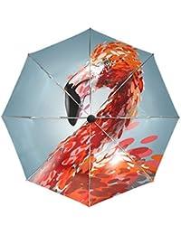BENNIGIRY Paraguas de Viaje Resistente al Viento Rojo Flamenco Auto Abierto Plegable Fuerte Compacto Paraguas,