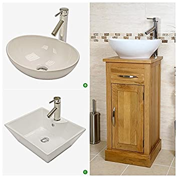 Compact Oak Cloakroom Vanity Unit with Basin. Compact Oak Cloakroom Vanity Unit with Basin  Amazon co uk