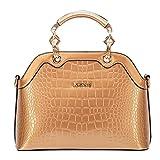 G-AVERIL Handtasche für Frauen Damen - Helle Lackleder/Hochwertige Umhängetasche/Europäischen und Amerikanischen Stil Handtasche/Klassisch und Funktions Tasche Gold
