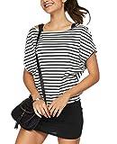 Jusfitsu Damen Ohne Arm Kleid Aus Oversize Shirt 2-in-1(Set 2 tlg) Sommer Minikleid Standkleid (Schwarz-Weiß2, XXL)