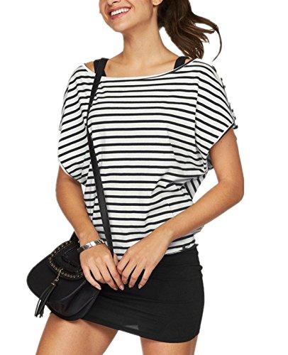 Set Kurzer Arm (Jusfitsu Damen Ohne Arm Kleid Aus Oversize Shirt 2-in-1(Set 2 tlg) Sommer Minikleid Standkleid (Schwarz-Weiß2, XXL))