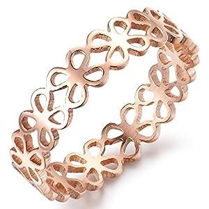 bigsoho Fashion Edelstahl Rosegold elegant Damen Mädchen Ring 5mm breit