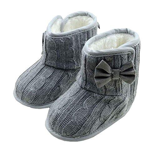 Krabbelschuhe Babyschuhe Lauflernschuhe Kleinkind Ronamick gefüttert Weiche Baby Kinder Junge Schuhe Netter Rutschsicheren(Age:12~18 Monate, Grau)