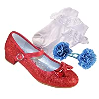 Girls red Low Heeled Party and Dressing up Shoes with Socks and Hair Accessories Perfect for Dorothy Outfit