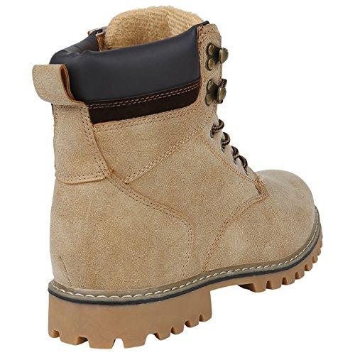 Stiefelparadies Gefütterte Herren Worker Boots Outdoor Schuhe Schnürstiefel Flandell Creme Carlton