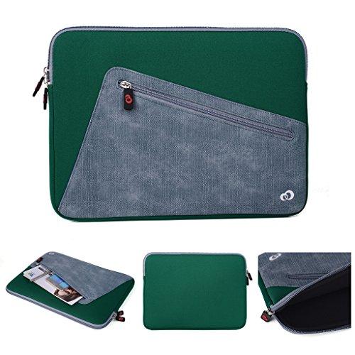 Kroo Tablet-Schutzhülle aus Neopren/Sleeve für Dell Latitude 12E5250. Vorne Reißverschluss Tasche für speicherbedarf grün Deep Green and Grey