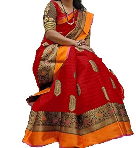Harikrishnavilla Women's Cotton Silk Saree With Blouse Piece (Red_Free Size)
