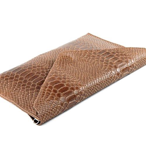 modamoda de - ital. Ledertasche Clutch Unterarmtasche Abendtasche Damentasche Handgelenktasche Leder Schlangenoptik T106S Braun