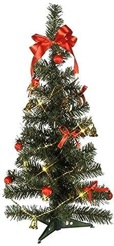 Naturnaher LED - Weihnachtsbaum / Tannenbaum mit 10 warmen LED-Lichtern - ROT / GOLDENE Dekoration mit Schleifen und Kugeln ist bereits enthalten - Größe 25 x 60 cm - Natürlich schön - Batteriebetrieben - keine Stecker / keine dicken Kabel - mit Timer - NEU für Sie entdeckt im KAMACA-SHOP