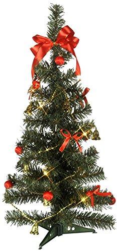 Naturnaher LED - Weihnachtsbaum / Tannenbaum mit 10 warmen LED-Lichtern - ROT / GOLDENE Dekoration mit Schleifen und Kugeln ist bereits enthalten - Größe 25 x 60 cm - Natürlich schön - Batteriebetrieben - keine Stecker / keine dicken Kabel - mit Timer - NEU für Sie entdeckt im KAMACA-SHOP (Weihnachtsbaum-kugel Dekorationen)
