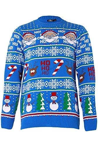 Preisvergleich Produktbild SHINE Original Pingo Men's Christmas Jumper Knit Fun Pullover with Crew Neck (HO HO ans Snow Man Aztec-Blue,  M)