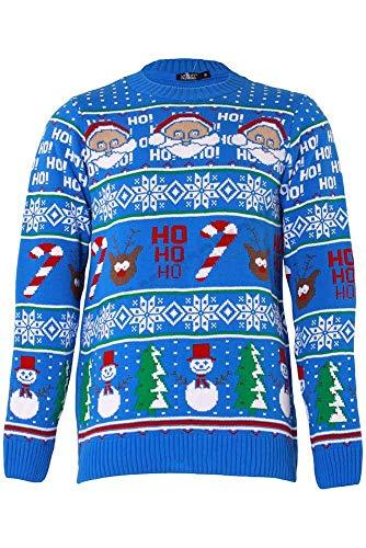 Preisvergleich Produktbild SHINE Original Pingo Men's Christmas Jumper Knit Fun Pullover with Crew Neck (HO HO ans Snow Man Aztec-Blue