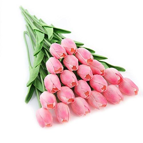 (kaymayn mit künstlichen Tulpen Blume Fake Blumen Blumenstrauß Seide Tulpen mit Streifen, für Geburtstag Hochzeit Bouquet Dekor oder zu Hause, Büro oder den Garten Party Blumen Dekor, rose, 5 pcs)