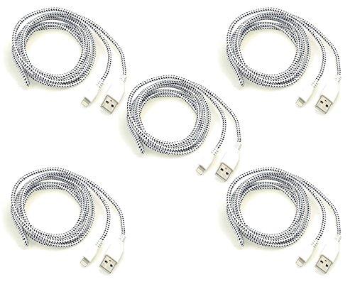 iprotect Original 5X USB 2m Nylon Ladekabel Datenkabel knotenfrei für Apple iPhone SE, 5, 5s, 5c, 6, 6s, 6s Plus, iPod Touch 5G, iPad Mini 1+2, iPad 4, Air 1+2, iPod Nano 7G Adapter in weiß (6 Iphone Case Battery Apple)