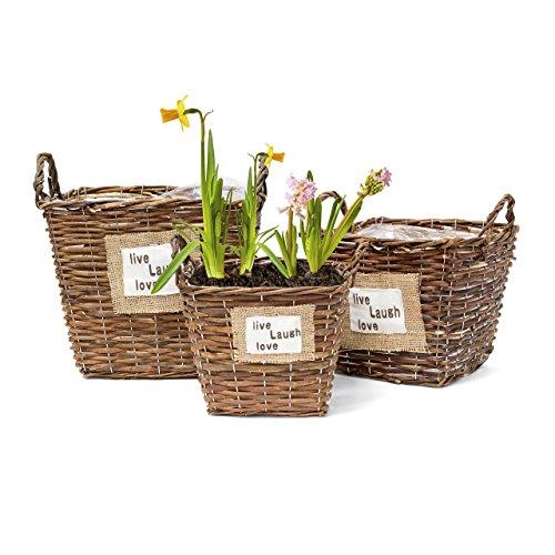 Relaxdays Pflanzkörbe 3er Set quadratisch hoch HBT max. 32 x 34,5 x 32 cm Weidenkorb mit Auskleidung aus Kunststoff zum direkten Bepflanzen kleine Pflanzkübel für Haus und Garten, braun