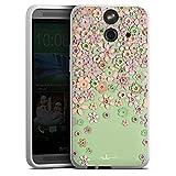 HTC One E8 Silikon Hülle Case Schutzhülle Leder Blumen