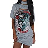 OverDose Damen Frauen Vintages weg vom Schulter Rock Art langes T-Shirt Minikleid Long Mini Dress (S, D-Grau)