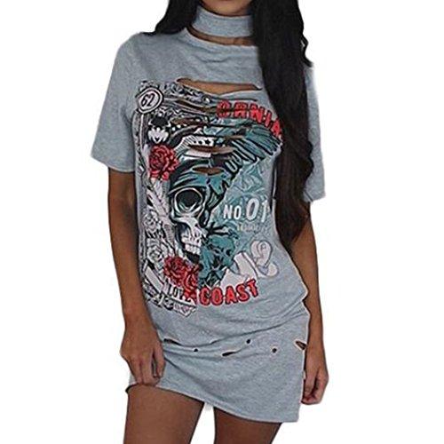 OverDose Damen Frauen Vintages weg vom Schulter Rock Art langes T-Shirt Minikleid Long Mini Dress (S, (Jahre T 80er Shirts Vintage)