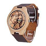 FanSi Reloj Personalizado de Madera/bambú con Correa de Piel Real, impresión fotográfica en la...