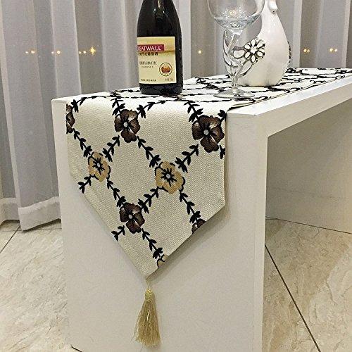 SAEJJ-Runner Cotone fiore Croce minimalista moderno, tavolo in lino corridore tabella bandiera bandiera bandiera di letto TV mobile tavolo , grey - Raso Musicale Mobile