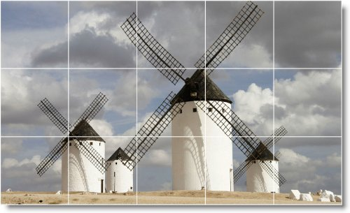 MOLINO FOTO TILE MURAL W001  18X 30CM CON (15) 6X 6AZULEJOS DE CERAMICA
