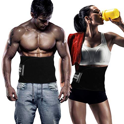 WADEO Waist Trimmer - Verstellbarer Ab Sauna Gürtel, Premium Bauch Fett Burner Sweat Wrap und Workout Waist Trainer für Männer und Frauen (Trimmer Ab)