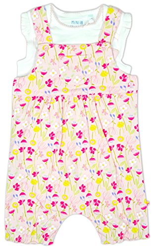 Baby Girls Floral Bib Short Romper & Bodysuit Top Set Outfit Sizes from Newborn to 12 Months