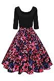 Damen 60er Jahre U-Ausschnitt swing Tanzkleid mit Blumenrock Stretchkkleid knielang Schwarz-Rosa L