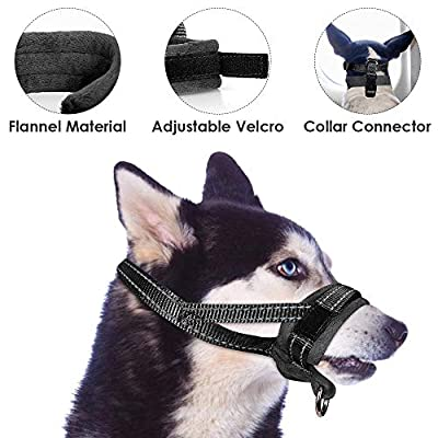 SlowTon Nylon Dog Muzzle, Adjustable Loop, Soft flannel Padding, Comfortable Breathable Secure Quick Fit Muzzles for Small Medium Large Dog, Prevent from Biting, Chewing and Barking by SlowTon