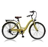 Frank Bikes 26 Zoll Cityrad Cityfahrrad Mädchenfahrrad Kinderfahrrad Citybike City Fahrrad 6 Gang Shimano STVO AMAZONE CREME