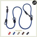 Pets&Partner® Hundeleine aus Nylon/Doppelleine/geflochten in verschiedenen Farben für mittelgroße bis große Hunde farblich passend zu Halsband und Geschirr, Marine Blau