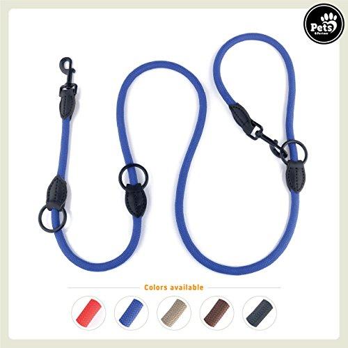 Pets&Partner® Hundeleine aus Nylon / Doppelleine / geflochten in verschiedenen Farben für mittelgroße bis große Hunde passend zu Halsband und Geschirr, Marine Blau (Marine-blau-karierte)