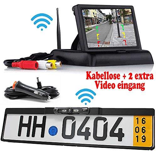 HSRpro Rückfahrkamera mit Kennzeichenhalter inkl. Flip Monitor - Bis zu 5 Jahre Garantie. Drahtloser Kabellose Funk oder Kabel Vinbindung für PKW KFZ Auto Bus & Transporter - Rear View Camera Kamera