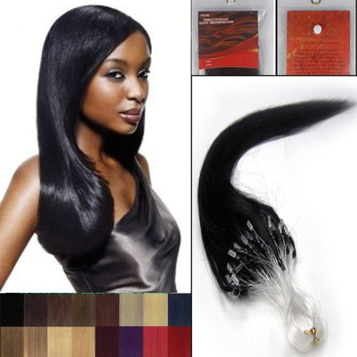 18'' Straight Loops Micro Ring Beads Tipped Human Hair Extenions 100S 01 Jet Black Women Beauty Hairsalon Style Design 0.5g/s by (50 Style S Hair)