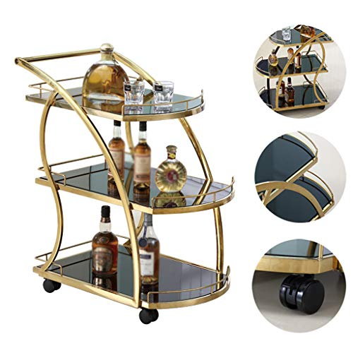 Wagen Weinkarren, 3-stufiges Küchen-Weinregal mit Rad-Servicewagen, Multifunktionsregal, abschließbarer Caster Gold, Geeignet for Bars, Restaurants, Hotels