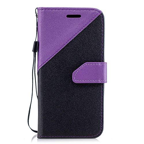 Coque Huawei Honor 9 Lite,Etui Huawei Honor 9 Lite,Surakey Huawei Honor 9 Lite Cuir PU Housse à Rabat Portefeuille Étui Flip Case Folio à Clapet Stand de Fermeture magnétique, Noir+Violet